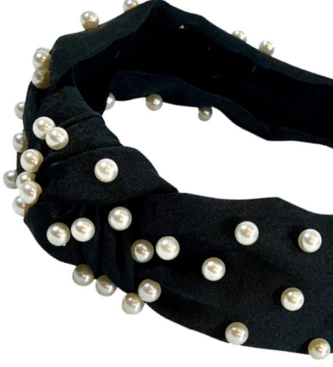 Black Knotted pearl headband