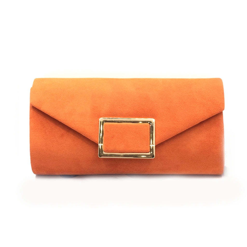 RUST ORANGE suede clutch