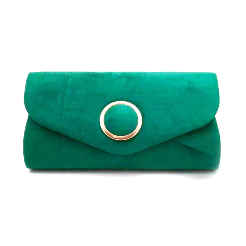 EMERALD GREEN suede clutch