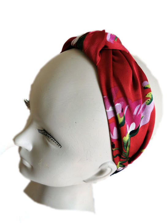 Red floral satin headband