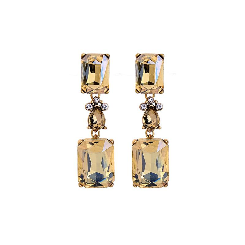 Pale Gold Crystal Drop Earrings