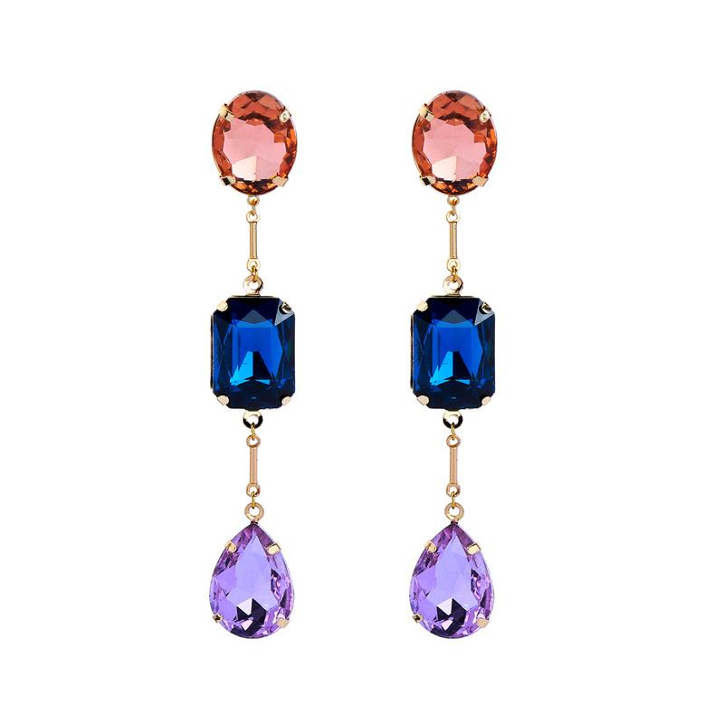 Coloured Gem Drop Earrings