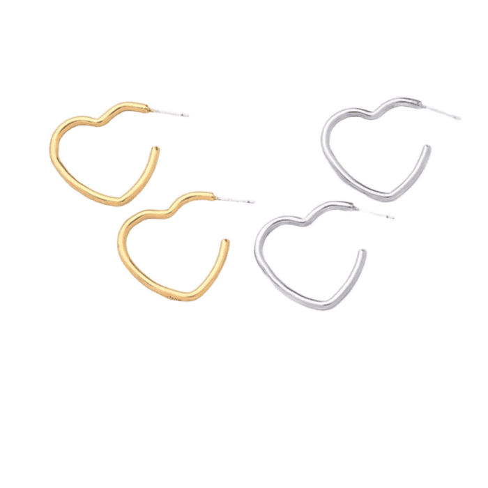 Heart Earrings - Silver