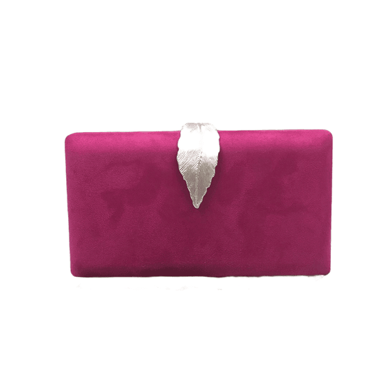 Magenta gold leaf suede clutch