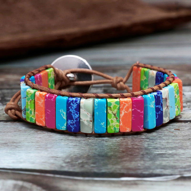 Handmade Multi Color Natural Stone Leather Wrap Bracelet