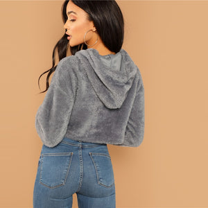 Grey Minimalist Solid Drop Shoulder Crop