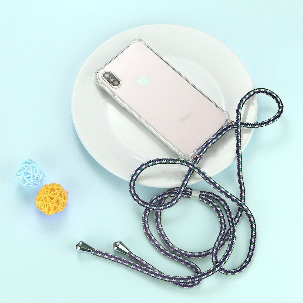 Strap Cord Chain Phone Case for iPhone XS X