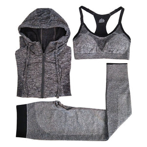 Running Sets Absorb Sweat Sports Bra & Pants & Jacket Gym Fitness Sport Yoga Set Suit Grey Tracksuit