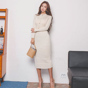 O-Neck Sweater Dress