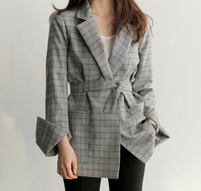 Spring/Autumn Gray Plaid Blazer