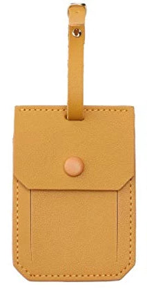 Mustard Leather Luggage Tag