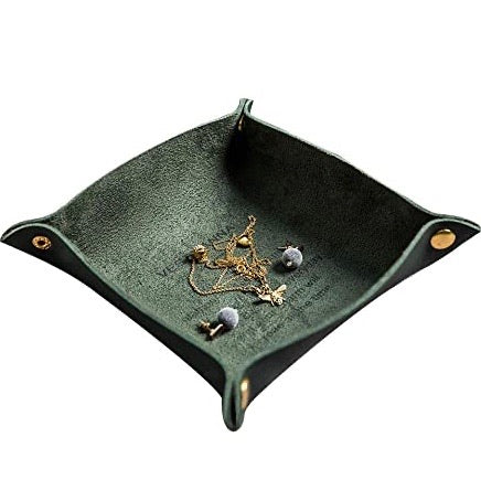 Green Leather Catchall Tray