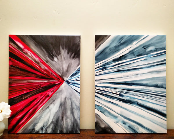 DIVINE MERCY IN WATERCOLOR, set of two paintings