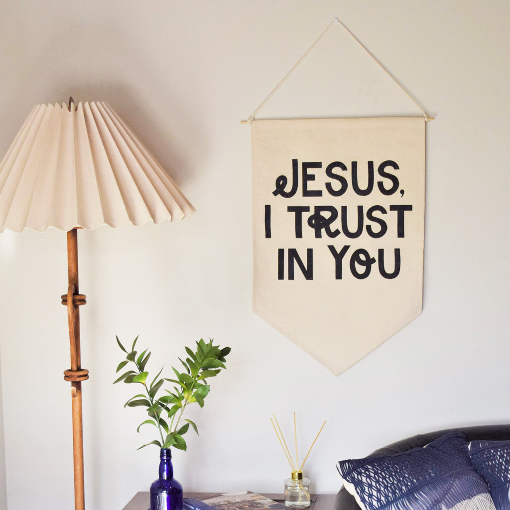 JESUS I TRUST IN YOU CANVAS BANNER