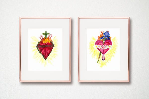 BOTANICAL SACRED HEART AND IMMACULATE HEART, set of two