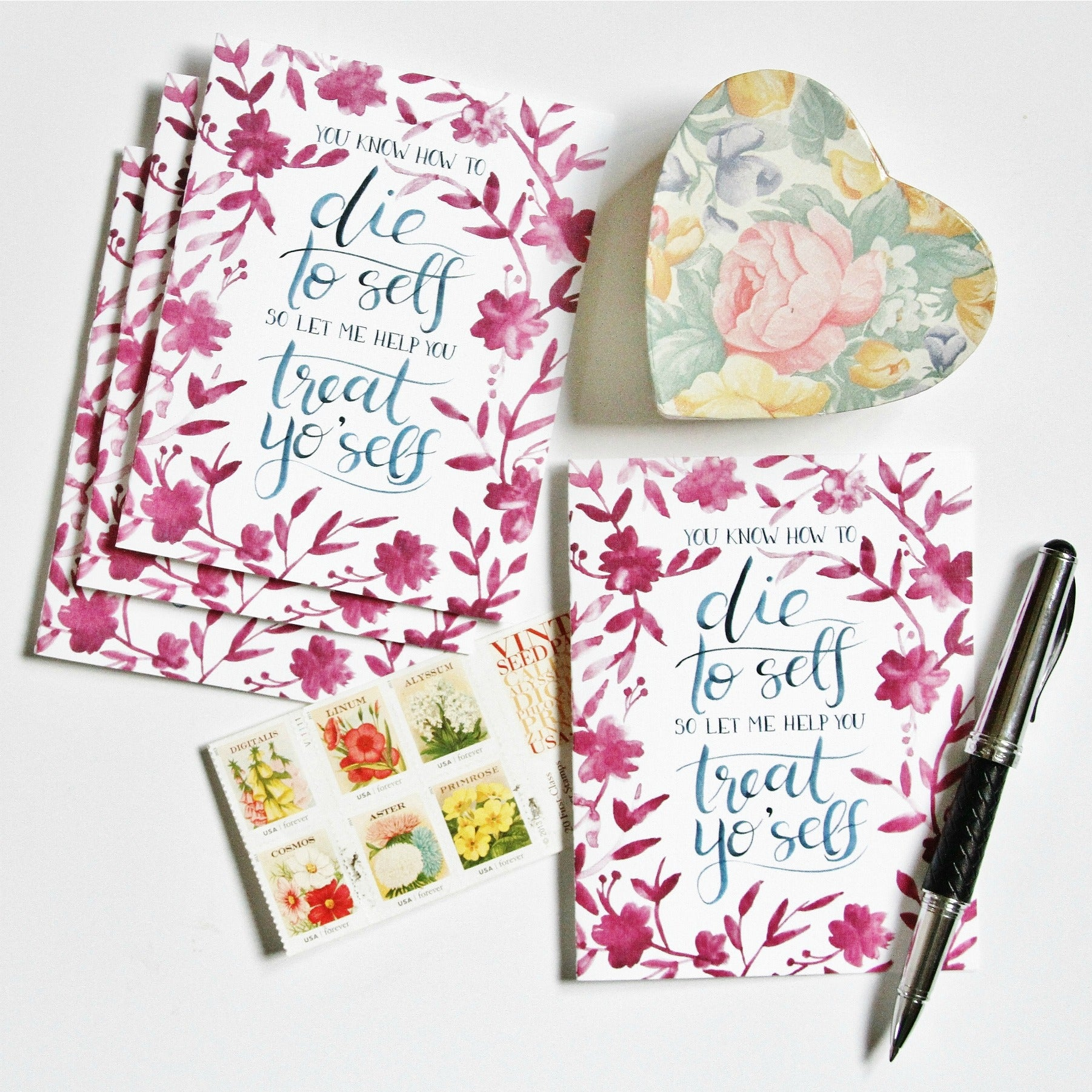 You know how to die to self treat yoself greeting card set of you know how to die to self treat yoself greeting card set of four rose harrington m4hsunfo