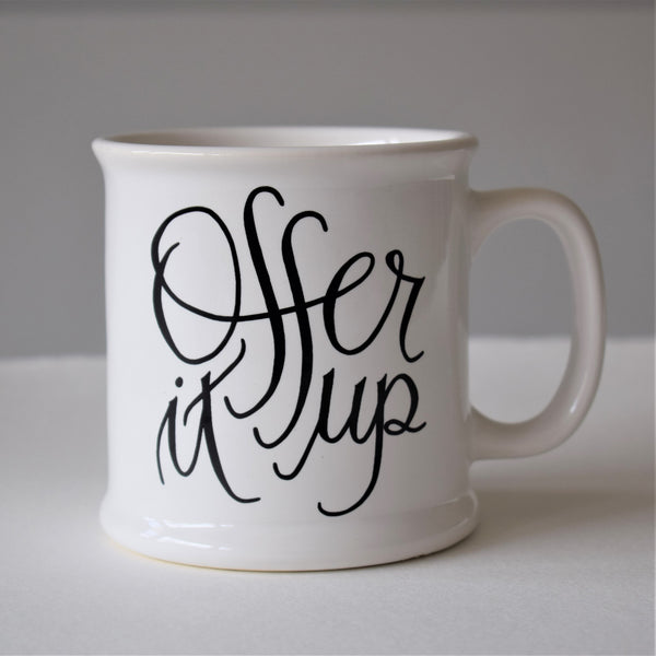 OFFER IT UP MUG, BRIGHT WHITE, 14 OZ