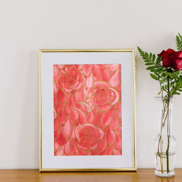Seconds Shower of Roses in Watercolor With Gold Foil - 12x18in