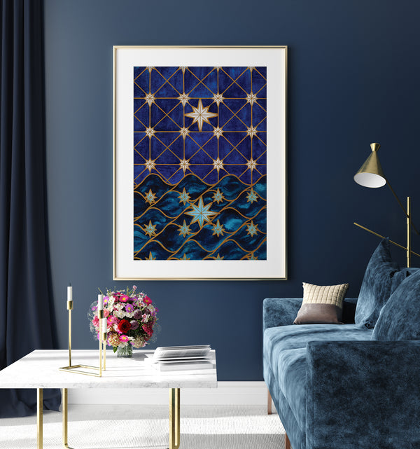 Seconds Mary Star of the Sea in Watercolor With Gold Foil - 12x18in