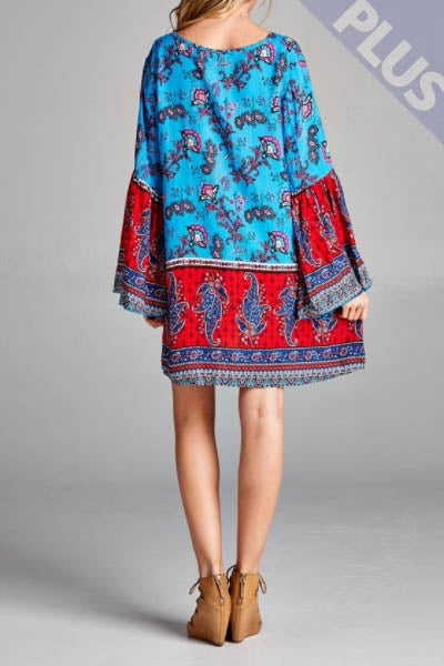 Turqoise Tassle Dress (Plus)