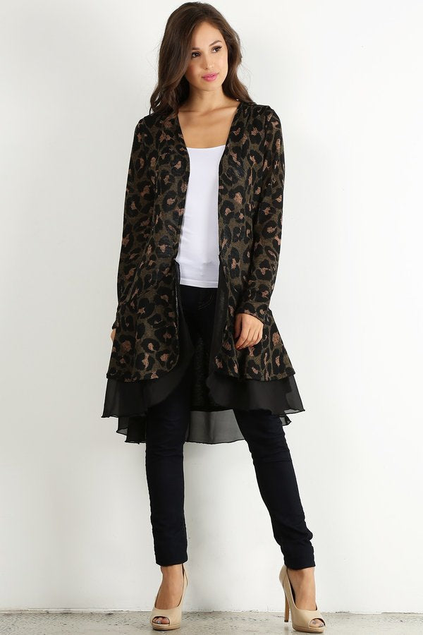 Curvy Girl with Crazy Curves Chiffon Layered Cardigan (Plus)