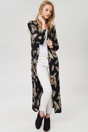 Curvy Girls with Crazy Curves Long Cardigan Feather Print (Plus)