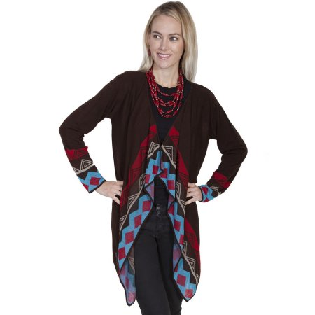Scully Western Cardigan Womens Drpaed Front Geometric Diamond