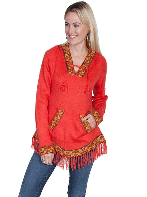 Scully Alpaca Hooded Pullover Sweater Red