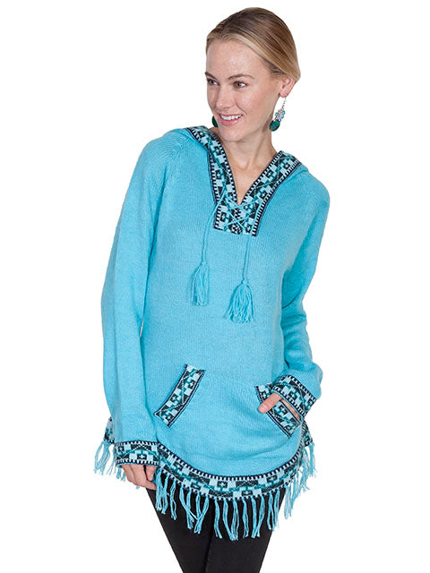 Scully Alpaca Hooded Pullover Sweater Turquoise