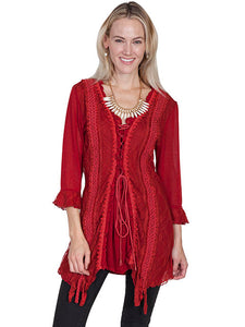 Scully Red Lace Top