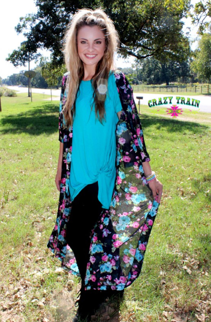 Crazy Train Black Ramblin' Rose Duster