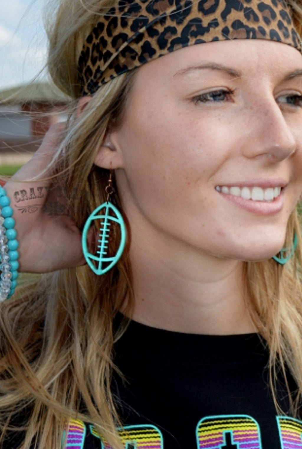 Crazy Train *Turqoise* First Down Football Earrings