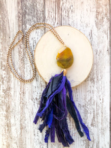 Purple and Yellow Tassel Necklace