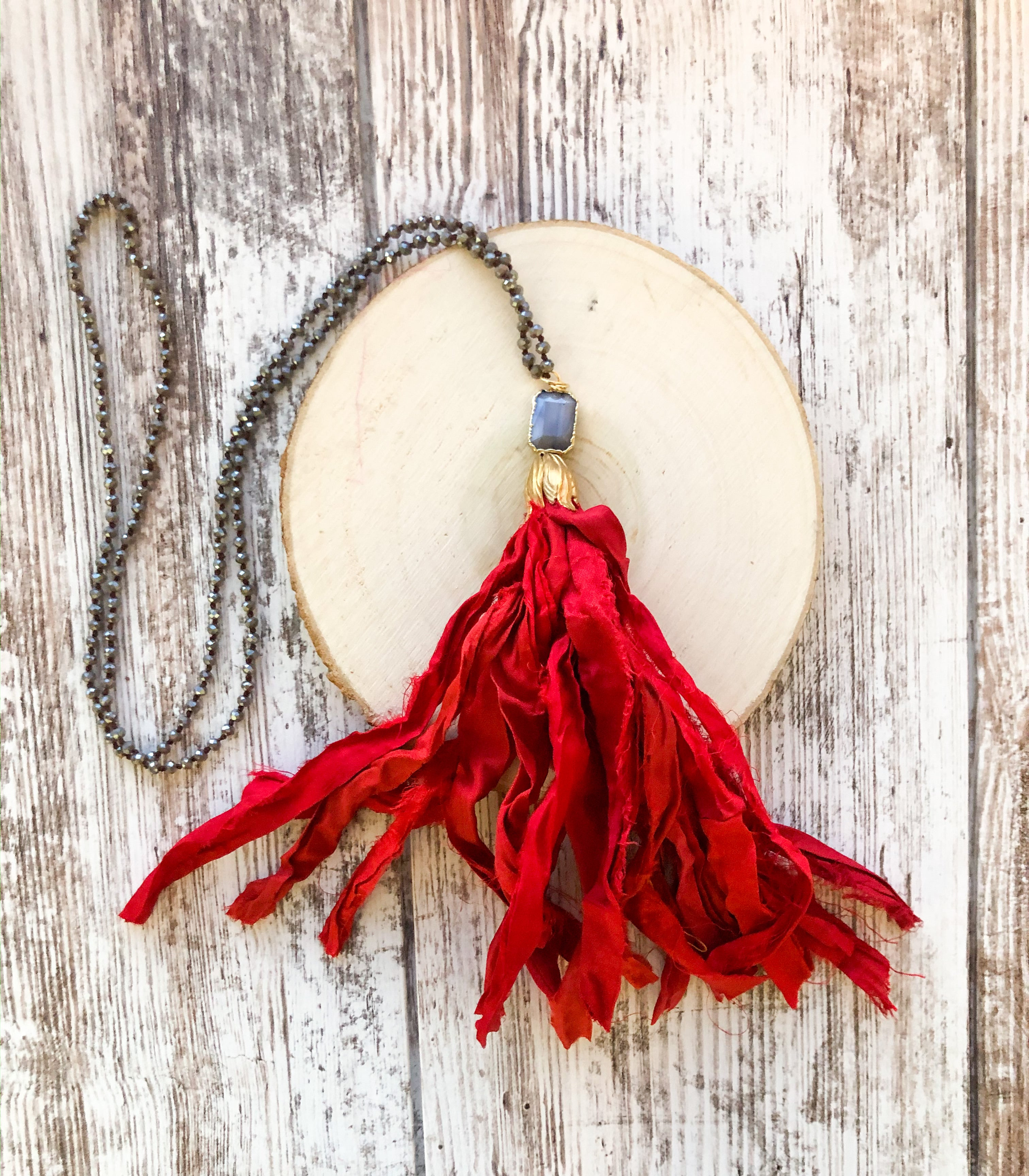 Red and Grey Tassel Necklace