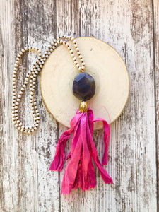 Pink and Purple Tassel Necklace