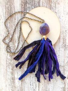 Purple and Blue Tassel Necklace