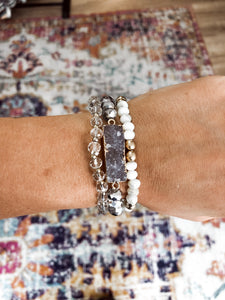 Light Grey and White Bracelet Set