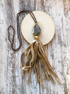 Taupe and Brown Tassel Necklace