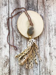 Taupe Tassel Necklace
