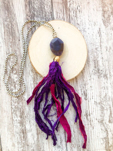 Purple and Pink Tassel Necklace