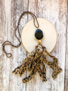 Leopard Tassel Necklace with Black Stone