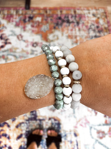 Grey, White, and Green Bracelet Set