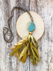 Green Tassel Necklace with Turquoise Stone