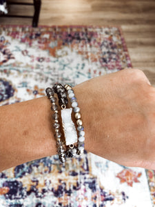Dark Grey and White Bracelet Set