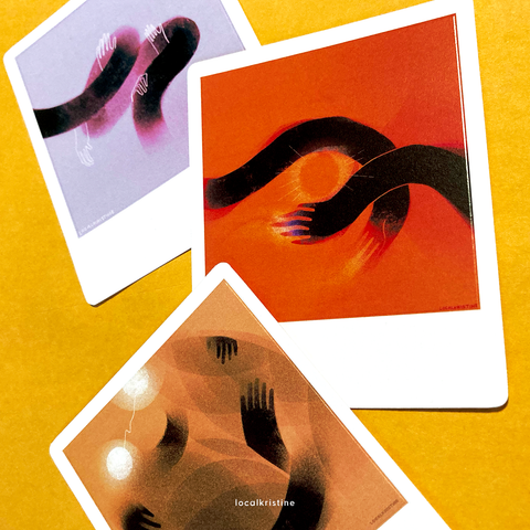 close up — three images with white borders like polaroids on a yellow background. image one has hands tangled in a spiral of black. image two has two arms intertwining around a glowing sun. image three has two beings hugging.