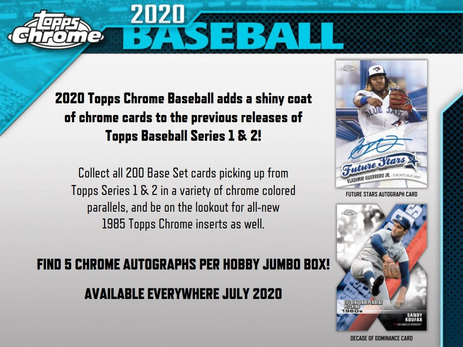 2020 Topps Chrome Baseball Hobby Jumbo Box