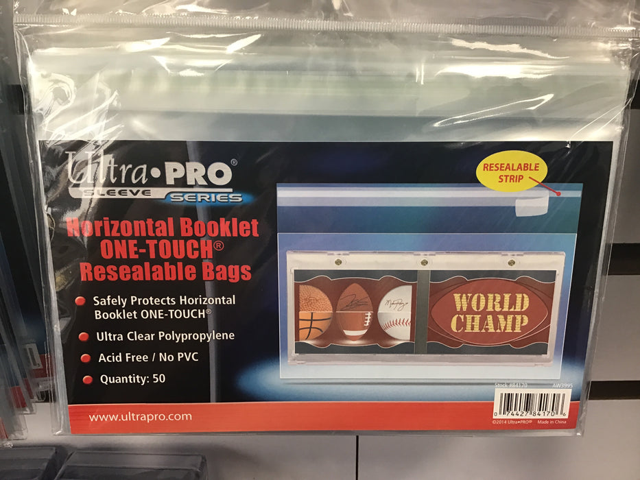 Ultra Pro Horizontal Booklet Resealable Bags for One-Touch
