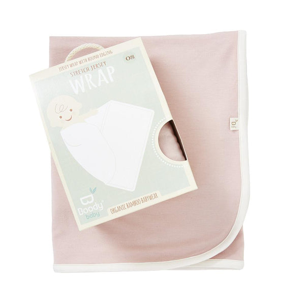 Boody Baby Bamboo Rose Pink Stretch Jersey Blanket in Packaging