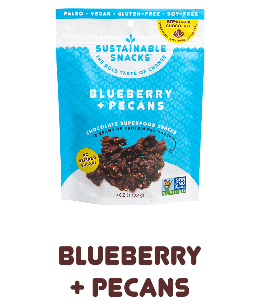 "Bag of Blueberry and Pecans Chocolate Superfood snacks by sustainable snacks with text underneath that says ""blueberry + pecans"""