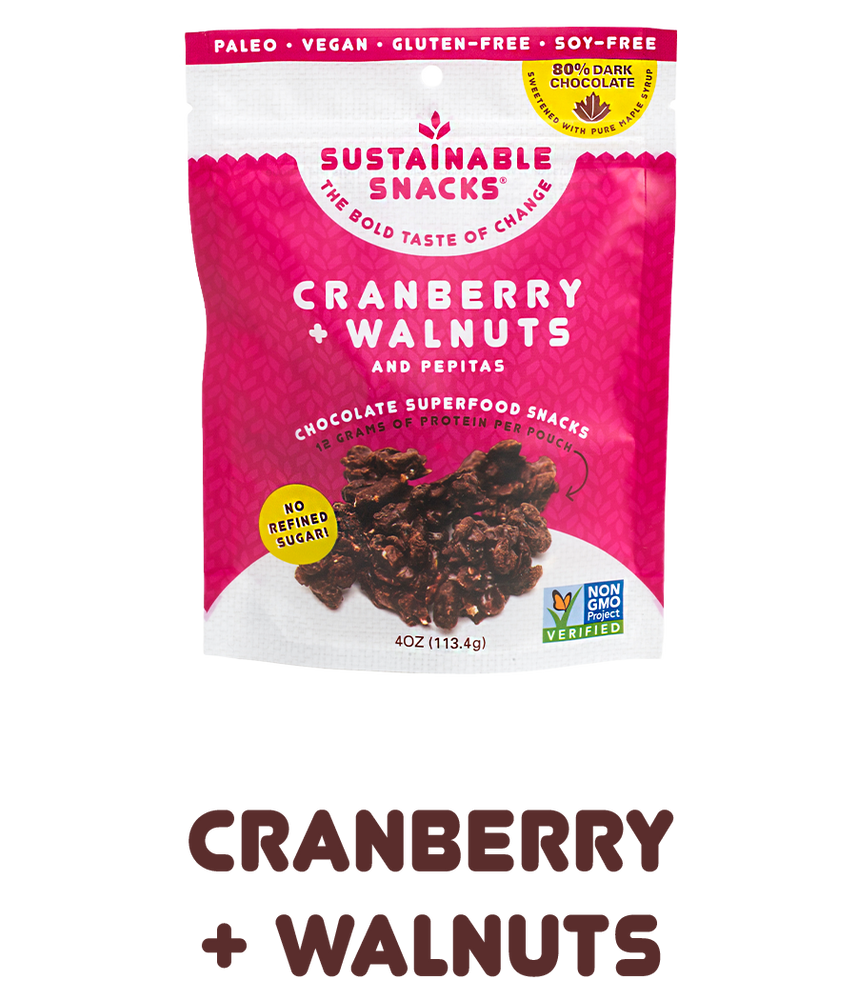 "Bag of Cranberry and Walnuts Chocolate Superfood snacks by sustainable snacks with text underneath that says ""cranberry + walnuts"""